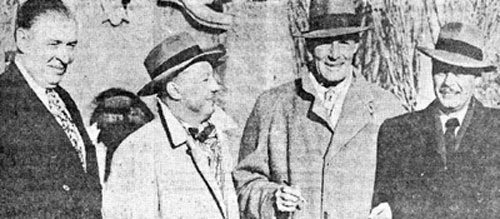 "Randolph Scott and comedian Billy DeWolfe (right) arrive at the train station in Albuquerque, NM, for the world premiere of ""Albuquerque"", Greeting them are Duke Clark, Paramount distribution chief for the western United States, and the film's producer William (Bill) Thomas of Pine-Thomas."