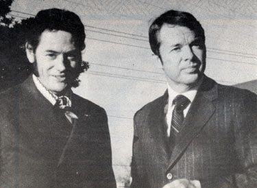 "Songwriter Scotty Turner and Audie Murphy. Turner and Murphy wrote several songs together including the big hit ""Shutters and Boards"" recorded by Jerry Wallace in 1963."