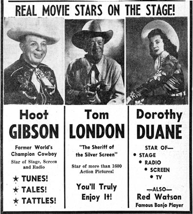 Hoot Gibson, Tom London and Dorothy Duane in person in Albuquerque, NM, 1953.