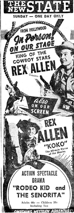 Rex Allen in person at the New State Theatre in Rockford, IL, 1951.