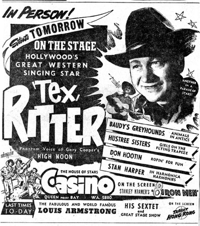 1952 newspaper ad for Tex Ritter in Person at the Casino Theatre in Toronto, Canada.