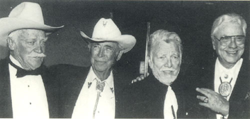 Richard Farnsworth, Eddie Dean, Lash LaRue and Monte Hale at the Autry Museum of Western Heritage fundraising Gala in Fall 1995.