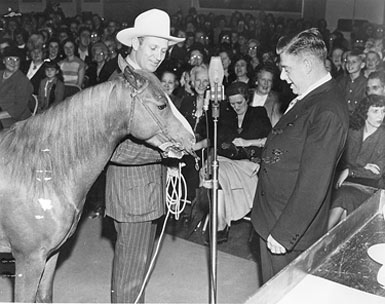 Gene Autry and Champion Jr. make an appearance on Arthur Godfrey's radio program. (Photo courtesy Neil Summers.)