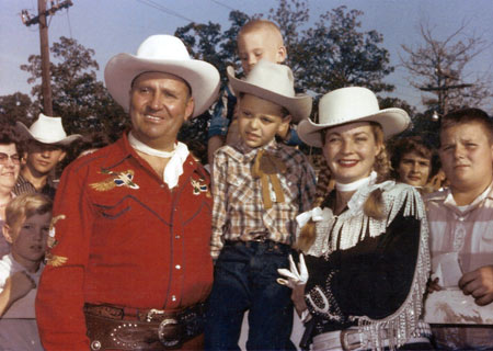 Gene Autry, Gail Davis and a group of young fans. (Photo courtesy Dale Price.)