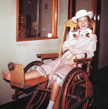 "In 1954 while filming an early episode of ""Annie Oakley"", Gail Davis tripped in the dark and fell on a curb as she was being picked up by a car for the daily ride to the location. She was immediately taken to the hospital with a broken foot. After her release, against doctor's orders, she went on location and did her scenes for the day. The foot apparently did not set properly and when Gail went home to Little Rock, AR, her father—a medical doctor—examined the foot and immediately took her to the hospital to re-break and re-set the bone. The foot apparently took considerable time to heal the second time. (Photo courtesy Dale Price.)"