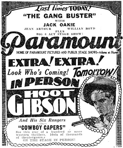 Hoot Gibson personal appearance newspaper ad from 1931.