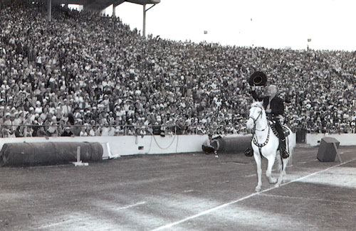 Hopalong Cassidy at the Cotton Bowl in Dallas, TX. October 1952. (Photo courtesy Billy Holcomb.)