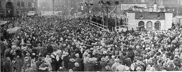 "Panoramic view of the uncounted thousands of Hopalong Cassidy fans who came to greet Hoppy in Chicago on a cold 17 degree day, January 14, 1950. Hoppy gave a free outdoor show in a parking lot beside Medinah temple near Ohio Street and Wabash Avenue. Six thousand youngsters filled the temple to capacity at each of the three indoor shows with Hoppy on screen (""Dangerous Venture"") and in person."