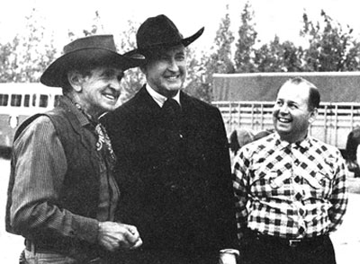 "Bob Steele and Tim McCoy on location with ""Requiem for a Gunfighter"" producer Alex Gordon in 1965."
