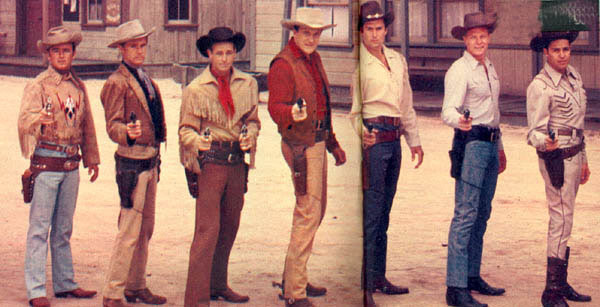"In this rare photo, left to right, Dick Jones as ""Buffalo Bill Jr."", John Lupton of ""Broken Arrow"", Guy Madison as ""Wild Bill Hickok"", James Arness of ""Gunsmoke"", Clint ""Cheyenne"" Walker, Peter Graves of ""Fury"" and Dale Robertson of ""Tales of Wells Fargo""—although we never saw hin in that fancy outfit."