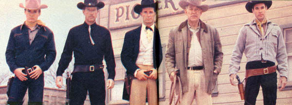 "Photo below is from the same 6/57 issue depicting five new TV western heroes. (L-R) Will ""Sugarfoot"" Hutchins, Richard Boone, Paladin on ""Have Gun Will Travel"", James Garner as ""Maverick"", Ward Bond, Major Seth Adams on ""Wagon Train"" and James Best, set to star in ""Pony Express"". (The pilot was made but didn't sell. It later sold starring Grant Sullivan.)"