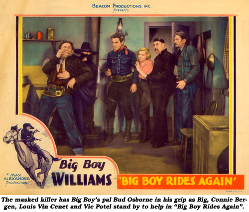 "The masked killer has Big Boy's pal Bud Osborne in his grip as Big, Connie Bergen, Louis Vin Cenet and Vic Potel stand by to help in ""Big Boy Rides Again""."