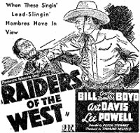 "Newspaper ad for ""Raiders of the West"" starring Bill Boyd, Art Davis and Lee Powell."