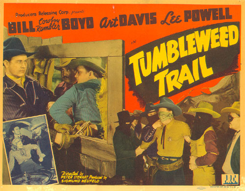 "Title card to ""Tumbleweed Trail"" starring Bill Boyd, Art Davis and Lee Powell."