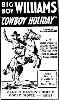 "Newspaper ad for ""Cowboy Holiday""."
