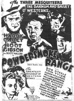 "Newspaper ad for ""Powdersmoke Range""."