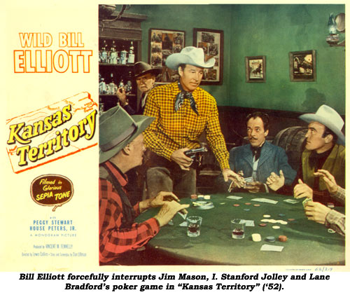 "Bill Elliott forcefully interrupts I. Stanford Jolley and Lane Bradford's poker game in ""Kansas Territory"" ('52)."