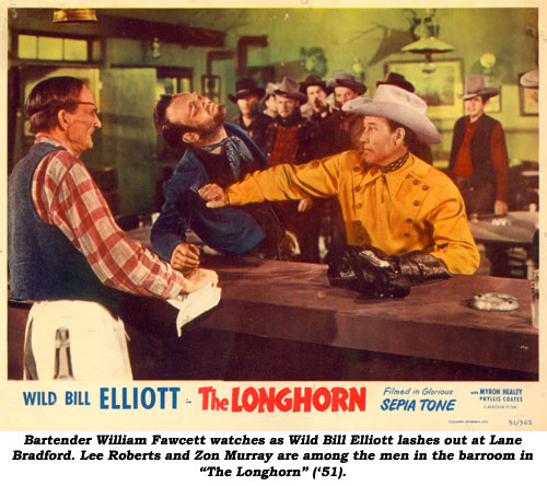 "Bartender William Fawcett watches as Wild Bill Elliott lashes out at Lane Bradford. Lee Roberts and Zon Murray are among the men in the barroom in ""The Longhorn"" ('51)."