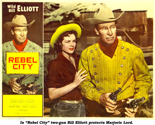 "In ""Rebel City"" two-gun Bill Elliott protects Marjorie Lord."