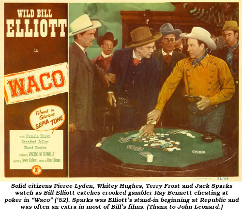 "Solid citizen Pierce Lyden, Whitey Hughes, Terry Frost and unknown watch as Bill Elliott catches crooked gambler Ray Bennett cheating at poker in ""Waco"" ('52)."