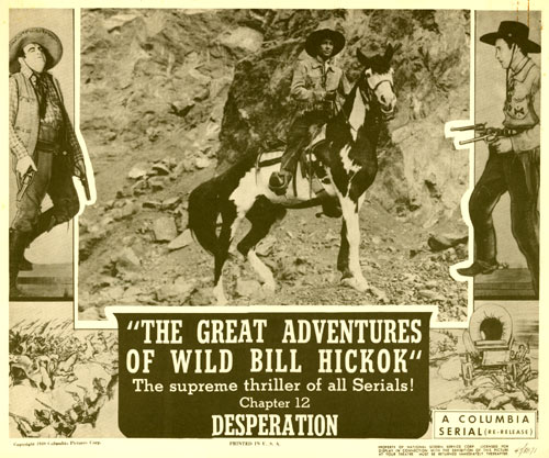 "Title card for chapter 12 of ""The Great Adventures of Wild Bil Hickok"" serial."