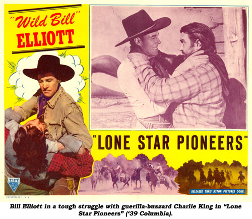 "Bill Elliott in a tough struggle with guerilla-buzzard Charlie King in ""Lone Star Pioneers"" ('39 Columbia)."