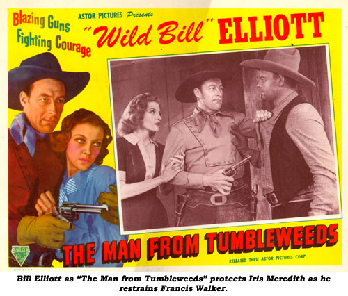 "Bill Elliott as ""The Man from Tumbleweeds"" protects Iris Meredith as he restrains Francis Walker."