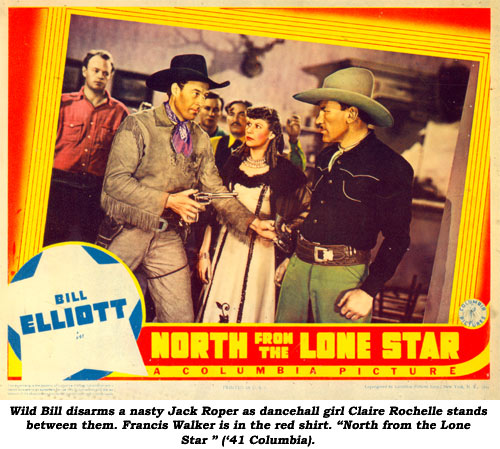 "Wild Bill disarms a nasty Jack Roper as dancehall girl Claire Rochelle stands between them. Francis Walker is in the red shirt. ""North from the Lone Star"" ('41 Columbia)."