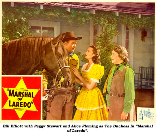 "Bill Elliott with Peggy Stewart and Alice Fleming as The Duchess in ""Marshal of Laredo""."