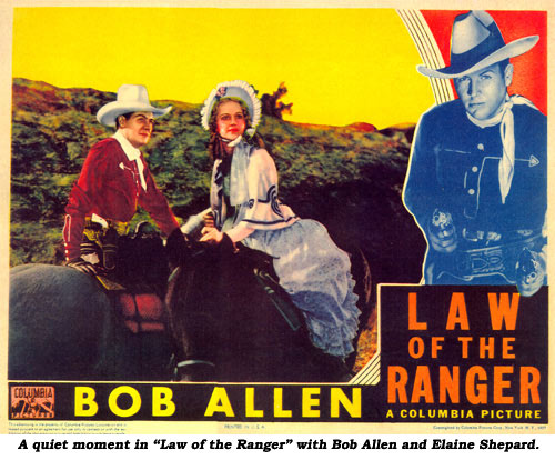 "A quiet moment in ""Law of the Ranger"" with Bob Allen and Elaine Shepard."