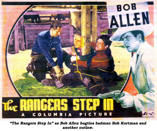 """The Rangers Step In"" as Bob Allen hogties badman Bob Kortman and another outlaw."