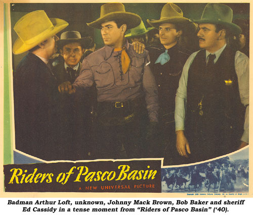 "Badman Arthur Loft, unknown, Johnny Mack Brown, Bob Baker and sheriff Ed Cassidy in a tense moment from ""Riders of Pasco Basin"" ('40)."