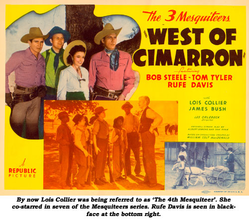 By now Lois Collier was being referred to as 'The 4th Mesquiteer'. She co-starred in seven of the Mesquiteers series. Rufe Davis is seen in blackface at the bottom right.