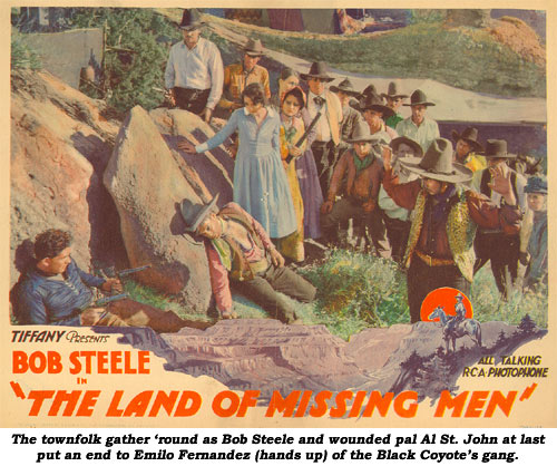 The townfolk gather 'round as Bob Steele and wounded pal Al St. John at last put an end to Emil Fernandez (hands up) of the Black Coyote's gang.