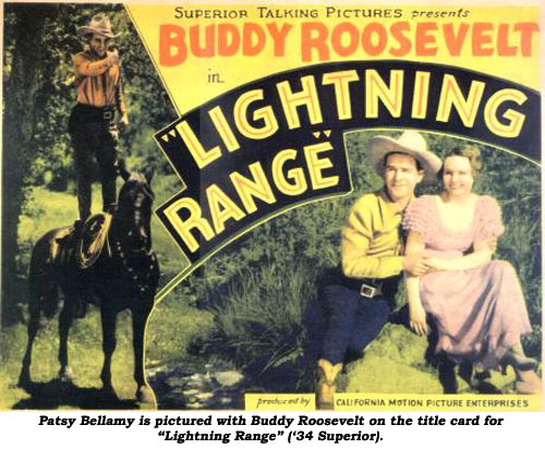 "Patsy Bellamy is pictured with Buddy Roosevelt on the title card for ""Lightning Range"" ('34 Superior)."