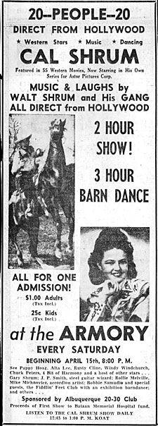 Newspaper ad for Cal Shrum and Alta Lee in person at the Armory in Albuquerque, NM.