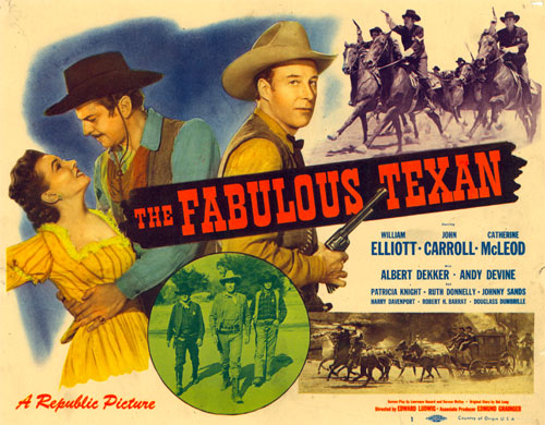 "Title card to ""The Fabulous Texan"" starring William Elliott."