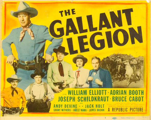 "Title card to ""The Gallant Legion"" starring William Elliott."