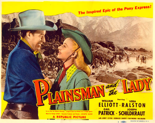 "Title card for ""Plainsman and the Lady"" starring William Elliott."