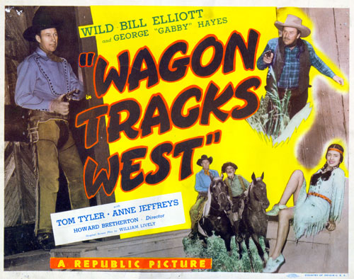 "Title card from ""Wagon Tracks West""."