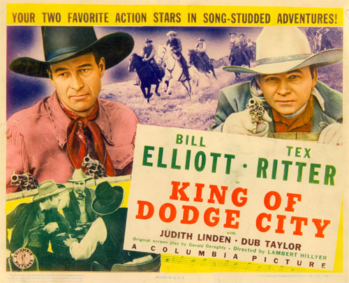 "Title card for ""King of Dodge City"" starring Bill Elliott and Tex Ritter."