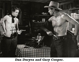 "and injured Dan Duryea and Gary Cooper exchange clothes in ""Along Came Jones""."