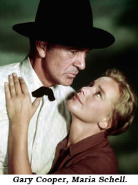 "Gary Cooper and Maria Schell in ""The Hanging Tree""."