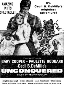 "Gary Cooper and Paulette Goddard in ""Unconquered""."