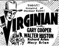 "Ad for ""The Virginian"" ('29) starring Gary Cooper."