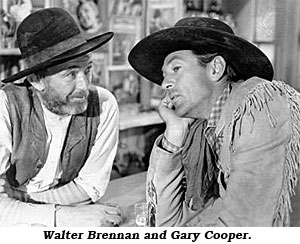 "Walter Brennan and Gary Cooper in ""The Westerner""."
