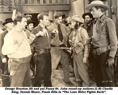 "George Houston (R) and pal Fuzzy St. John round-up outlaws (L-R) Charlie King, Dennis Moore, Frank Ellis in ""The Lone Rider Fights Back""."