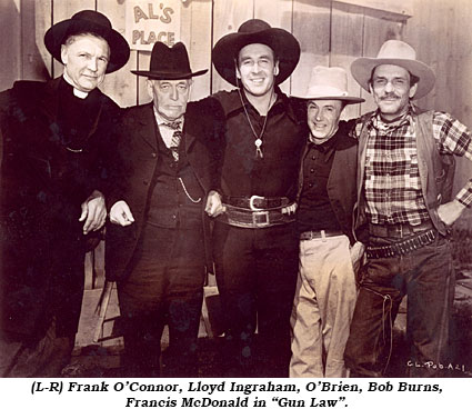 "(L-R) Frank O'Connor, Lloyd Ingraham, O'Brien, Bob Burns, Francis McDonald in ""Gun Law""."