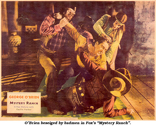 "O'Brien is besieged by badmen in Fox's ""Mystery Ranch""."