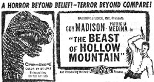"NEwspaper ad for ""The Beast of Hollow Mountain""."